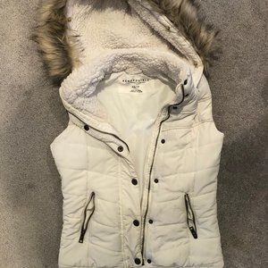 Aeropostle Winter White Vest with Faux Fur…